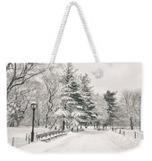 Winter Path - Snow Covered Trees In Central Park Weekender Tote Bag by Vivienne Gucwa
