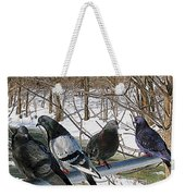 Winter Pigeon Party Weekender Tote Bag