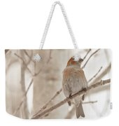 Winter Pine Grosbeak Weekender Tote Bag