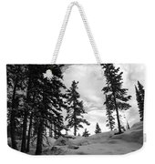 Winter Pines Silhouetted Against The Sky Weekender Tote Bag by Cascade Colors