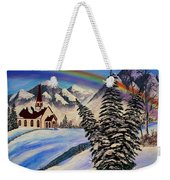 Winter Rainbow Weekender Tote Bag
