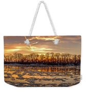 Winter River Sunrise Weekender Tote Bag