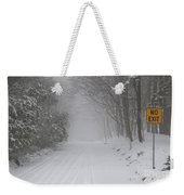 Winter Road During Snow Storm Weekender Tote Bag