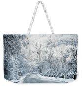 Winter Road In Forest Weekender Tote Bag