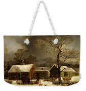 Winter Scene In New Haven Connecticut 1858 By Durrie Weekender Tote Bag by Movie Poster Prints