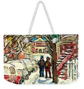 Winter Scene Painting Rows Of Snow Covered Cars First School Day After Christmas Break Montreal Art Weekender Tote Bag