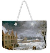 Winter Scene With A Man Killing A Pig Weekender Tote Bag
