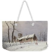 Winter Scene With Figures On A Path Near A Church Weekender Tote Bag