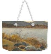 Winter Shoreline Rockland Lake Weekender Tote Bag