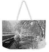Winter Snow Storm In Somesville Maine Weekender Tote Bag
