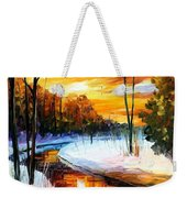 Winter Sunset - Palette Knife Oil Painting On Canvas By Leonid Afremov Weekender Tote Bag