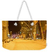 Winter Time Street Scene In Krizevci Weekender Tote Bag