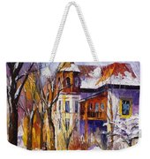 Winter Town - Palette Knife Oil Painting On Canvas By Leonid Afremov Weekender Tote Bag