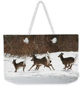 White Tailed Deer Winter Travel Weekender Tote Bag
