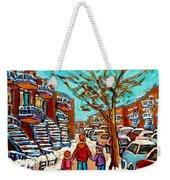 Winter Walk Montreal Paintings Snowy Day In Verdun Montreal Art Carole Spandau Weekender Tote Bag