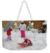 Winter - Winter Is Fun Weekender Tote Bag by Mike Savad