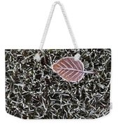 Winter With Frosted Leaf On Frozen Grass Weekender Tote Bag