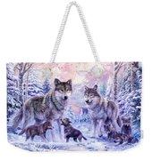 Winter Wolf Family  Weekender Tote Bag
