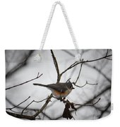 Winter's Tufted Titmouse Weekender Tote Bag