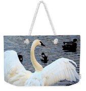 Winter's White Swan Weekender Tote Bag