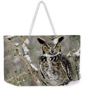 Wise Old Great Horned Owl Weekender Tote Bag