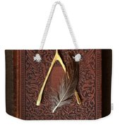 Wishbone And Feather On Antique Book Weekender Tote Bag