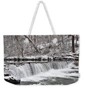 Wissahickon Waterfall In Winter Weekender Tote Bag by Bill Cannon