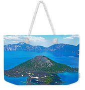 Wizard Island From Watchman Overlook In Crater Lake National Park-oregon  Weekender Tote Bag