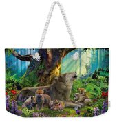 Wolf And Cubs In The Woods Weekender Tote Bag