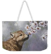 Wolf Pup - Baby Blossoms Weekender Tote Bag by Crista Forest