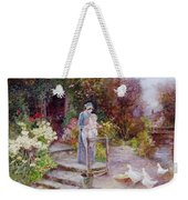 Woman And Child In A Cottage Garden Weekender Tote Bag