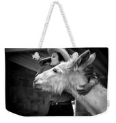 Woman And Donkey Black And White Weekender Tote Bag