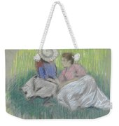 Woman And Girl On The Grass Weekender Tote Bag