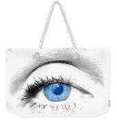 Woman Blue Eye Weekender Tote Bag by Michal Bednarek
