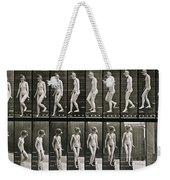 Woman Descending Steps Weekender Tote Bag by Eadweard Muybridge