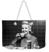 Woman Drinking Nescafe Weekender Tote Bag by Underwood Archives