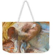 Woman Drying Her Feet Weekender Tote Bag