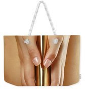 Woman Holding A Gold Vibrator Weekender Tote Bag