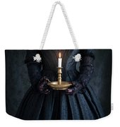 Woman In A Victorian Mourning Dress Holding A Candle Weekender Tote Bag