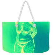 Woman In Green Weekender Tote Bag