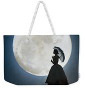Woman In Historical Clothing On A Cliff With Full Moon Weekender Tote Bag