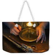 Woman In Historical Gown With Candle And Flintlock Pistol Weekender Tote Bag