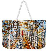 Woman In Red In Fall Rainy Day Weekender Tote Bag