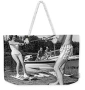 Woman Learning To Water Ski Weekender Tote Bag