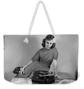 Woman Listening To Records Weekender Tote Bag