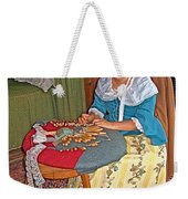 Woman Making Lace In Louisbourg Living History Museum-1744-ns Weekender Tote Bag