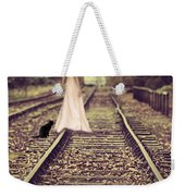 Woman On Railway Line Weekender Tote Bag