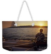 Woman On Sailboat Sunset Weekender Tote Bag
