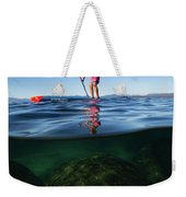 Woman Paddleboarding In The Lake, Lake Weekender Tote Bag