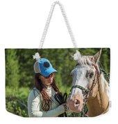 Woman Pets A Horse Weekender Tote Bag